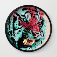 tiger Wall Clocks featuring Tiger by Roland Banrevi