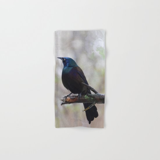 Yonder  (male Common Grackle) Hand & Bath Towel