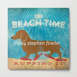 Dachshund Beach Time by Stephen Fowler Metal Print