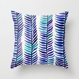 Indigo Seaweed Throw Pillow