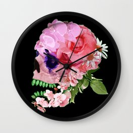 Flower Skull Wall Clock