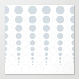 Up and down polka dot pattern in white and a pale icy gray Canvas Print