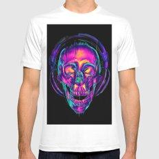 Trippy Skull MEDIUM White Mens Fitted Tee