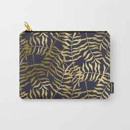 Gold Leaves on Navy Blue Carry-All Pouch