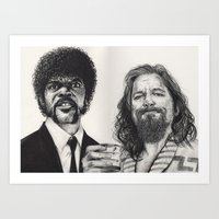 lebowski Art Prints featuring PULP LEBOWSKI by waynemaguire777