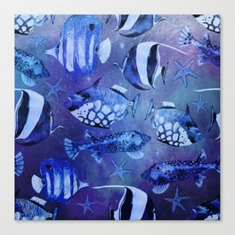 Watercolor fish pattern dark blue Canvas Print