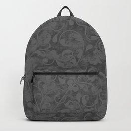 Modern Farmhouse Gray Damask Print Flower Vine on Weathered Background Backpack