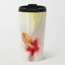 Stamen With Yellow Hibiscus Petal Background  Travel Mug