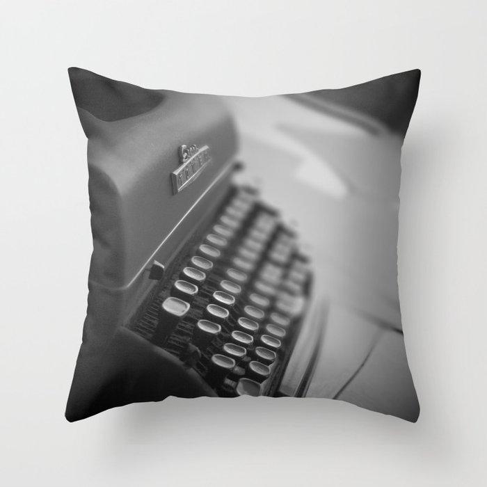 Black and White Typewriter  Throw Pillow