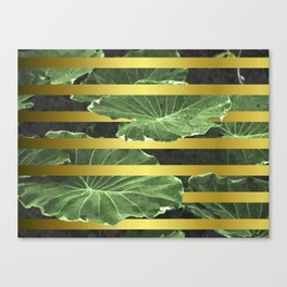 Green Leaves and Gold Stripes Canvas Print
