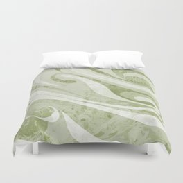 Abstract Green Waves Design Duvet Cover