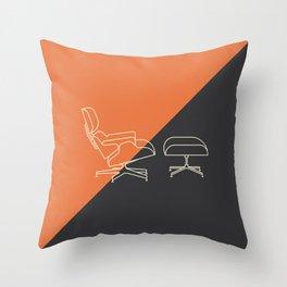 Eames Lounge // Mid Century Modern Minimalist Illustration Throw Pillow