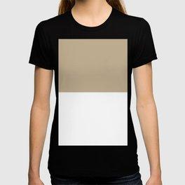 White and Khaki Brown Horizontal Halves T-shirt