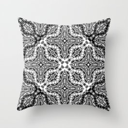 black and white Damascus ornament Throw Pillow