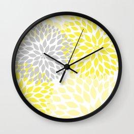 Yellow gray dahlias blossom art Wall Clock