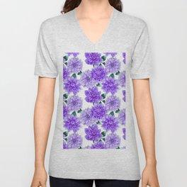 Artistic hand painted purple violet watercolor floral Unisex V-Neck