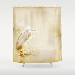 Antique style blue heron on textured background Shower Curtain