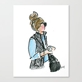 Top Knot. Tweed Vest. Canvas Print
