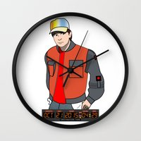 mcfly Wall Clocks featuring Marty McFly by Pendientera
