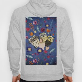 3 Wise Owls in Flower Garden at Night Hoody