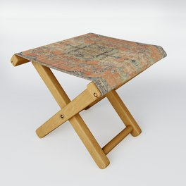 Vintage Woven Coral and Blue Folding Stool