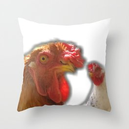Rooseter and chiken~ happy couple Throw Pillow