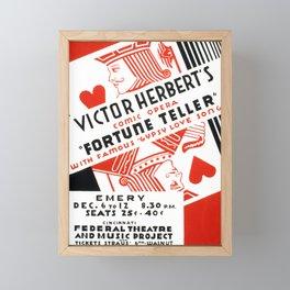 Vintage American WPA Theater Poster - The Fortune Teller at the Emery Theatre, Cincinnati (1936) Framed Mini Art Print