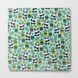 Panda Bear Print, Baby Panda, Blue and Green, Cute Panda Pattern Metal Print