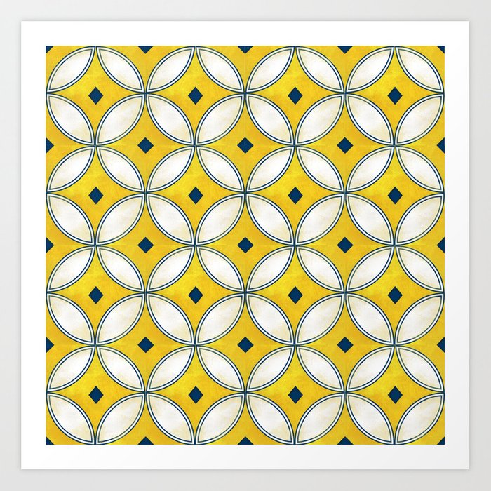 Mediterranean hand painted tile in Yellow, Blue and White Kunstdrucke