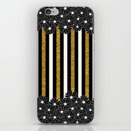 Black Daisies with Gold Glitter Stripes iPhone Skin
