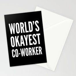 World's Okayest Co-worker (Black & White) Stationery Cards