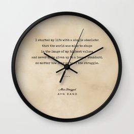 Ayn Rand Quote 01 - Typewriter Quote on Old Paper - Minimalist Literary Print Wall Clock