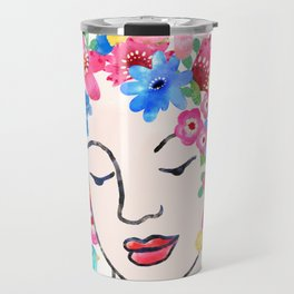 Colorful Watercolor Flower Hair Woman Talks to Birds Butterfly Travel Mug