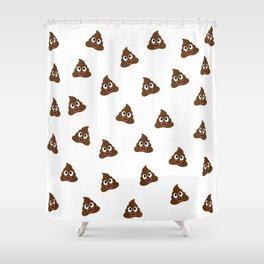 Cute smiling poop emoji Shower Curtain