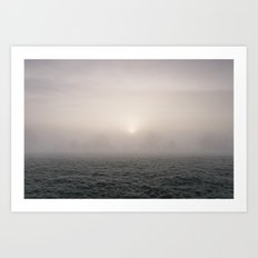 Sunrise through fog on a frosty morning. Norfolk, UK. Art Print