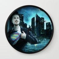 super heroes Wall Clocks featuring Heroes by Nessendyl