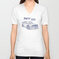 bmw V-neck T-shirts featuring BMW E30 Fan by Jaykblu