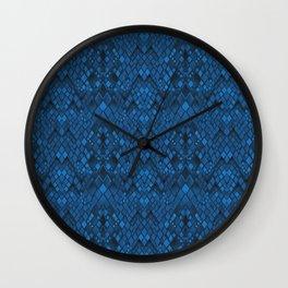 Snake skin , blue Wall Clock