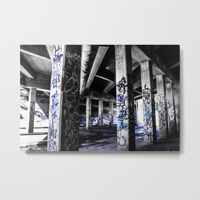 Dynamic Blue Graffiti Metal Print