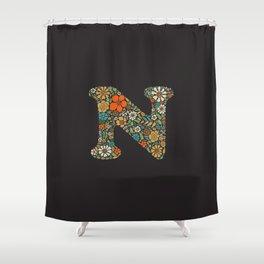 Hippie Floral Letter N Shower Curtain