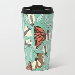 Beautiful Vintage Butterfly And Flower Pattern Travel Mug