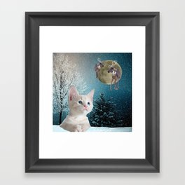 White Cat and Reindeers Framed Art Print