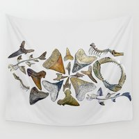 teeth Wall Tapestries featuring Shark teeth by Pistachia
