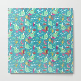 Narwhal Be Unique Pattern Metal Print