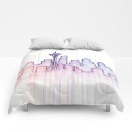 Seattle Skyline Watercolor Comforters