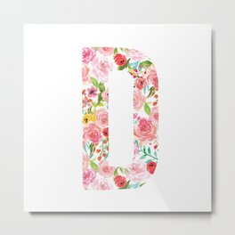 D botanical monogram. Letter initial with colorful watercolor flowers Metal Print