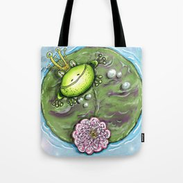 Frog Prince on His Lily Pad Tote Bag