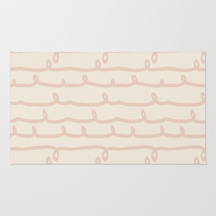 Vine Stripes Vintage Pink On Rose Petal Cream Rug By Followmeinstead Society6