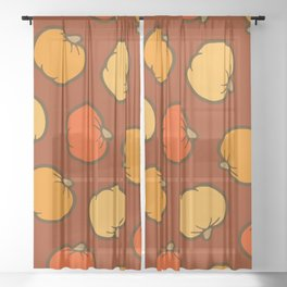 Pumpkin Pattern on Brown Sheer Curtain