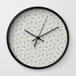 Blue & Linen White Abstract Triangle Geometric Mosaic Shape Pattern Pairs To 2020 Color of the Year Wall Clock